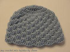 My Crochet , Mis Tejidos by Luna: Baby hat and tutorial / Gorro para bebe y…