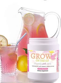 GROW ON THE GO Lemonade Drink tastes fantastic! With 500mcg of Biotin and over 1,500mg of our Beauty Complex, you can drink-your-way-to long, strong, thick, healthy hair and radiant skin. Just add this Grow on the Go drink supplement to your Healthy Hair and Beauty goals. Mix and go and see results, it's that simple. It's the Pretty Pink Drink everyone is asking for and it's flying off the shelves! Order your supply here: http://90dayhairgrowjourney.myflowindustry.com/