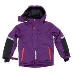 Quality kids waterproof padded coat in purple. Scandinavian outerwear. Hood.