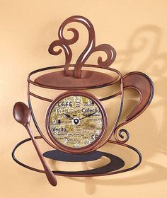 Metal Coffee Cup CLOCK Wall Art Clock Kitchen Home Decor Battery Operated
