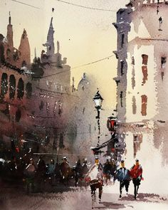 Photo by Henebu on March Image may contain: one or more people and outdoor Watercolor Artists, Watercolor Landscape, Watercolor Paintings, Watercolors, Joseph Zbukvic, Urban Sketching, Art Day, Insta Art, Sketches