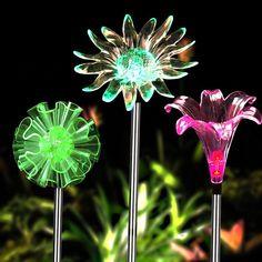 Bright zeal set of 3 led solar garden stake lights with vivid life solar garden lights 3 pack solar powered garden stake lights with a purple led light workwithnaturefo