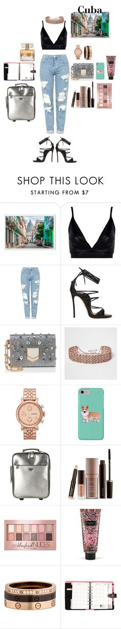 """""""Untitled #176"""" by loveyourself28 ❤ liked on Polyvore featuring Boohoo, Topshop, Dsquared2, Jimmy Choo, River Island, FOSSIL, Corgi, Prada, Laura Mercier and Maybelline"""