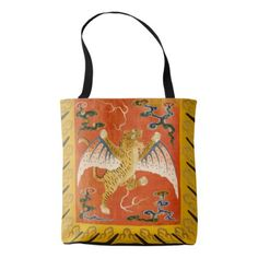 Chinese winged tiger orange and yellow tote bag - image gifts your image here cyo personalize