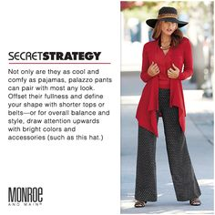 Secret strategies for instant slimming magic & more! Whether you are missy or plus size, we offer tips & tricks to to discover the best you yet. There are strategies to play up your assets, master the focus, and define your best lines. Short Legs Long Torso, Technical Difficulties, Short Tops, Palazzo Pants, Overalls, Pajamas, Success, Plus Size, Slim