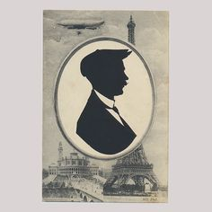Souvenir postcard silhouette cut at the top of the Eiffel Tower in the The artist had the postcard printed with an empty oval and stuck the silhouettes in. Postcard Printing, Silhouette S, Paper Artist, 1920s, Empty, Mona Lisa, Tower, Batman, Graphics