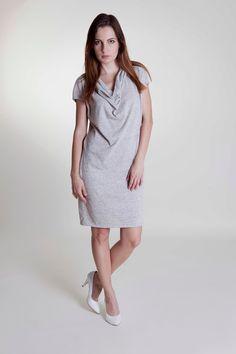 Woman grey handmade dress with pockets Handmade Dresses, Handmade Design, White Dress, High Neck Dress, Spring Summer, Pockets, Sport, Woman, Elegant