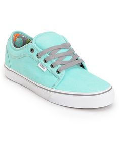 The Vans Chukka Low skate shoe in the exclusive wash mint Hawaii colorway is a low profile shoe with big amounts of durability and board feel. These Vans skate shoes feature an all mint washed twill upper, waffle cup with vulcanized gum outsole, seamless