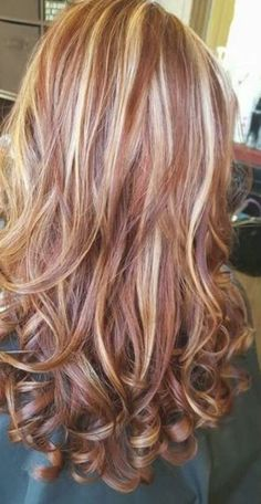 Red Hair With Blonde Highlights, Red Blonde Hair, Chunky Highlights, Blonde Hair With Copper Lowlights, Highlight And Lowlights, Black Hair, Blonde Hair With Brown Tips, Highlighted Blonde Hair, Caramel Blonde Hair