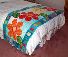 This is Feeling Groovy from Kim Schaffer's new book Skinny quilts. This book is filled with 15 versatile quilts that can be used as bed r. Bed Runner, Quilted Table Toppers, Quilted Table Runners, Skinny Quilts, Attic Window Quilts, Bed Scarf, Modern Quilt Blocks, Daisy, Quilt As You Go