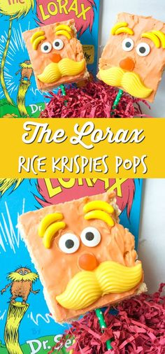 Dr. Seuss The Lorax Rice Krispies Pops - Perfect for Dr. Seuss themed birthday parties!