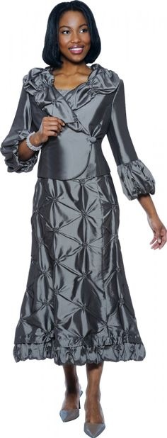 Wish I could just buy the skirt - adorable! Look at this Charcoal Pin-Tuck Ruffle Dress & Asymmetrical Jacket - Women & Plus by Divine Suits For Women, Jackets For Women, Church Dresses, Church Suits, Dresses Dresses, Dress And Jacket Set, Asymmetrical Dress, Spring Dresses, Fashion Outfits