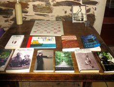 """The """"Living Library"""" at La Muse Writers' & Artists' Retreat, South of France. Victor McGowan is in the house -- Seamus Scanlon's As Close As You'll Ever Be and The McGowan Trilogy.  Seamus is a Wildcard Fellow at La Muse. http://lamuseinn.com/seamus-scanlon/"""