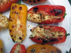 Feta Stuffed Peppers - I didn't use enough feta and the yogurt came through too strong. Still delicious, but with more feta, these could be amazing. Vegetarian Appetizers, Vegetarian Recipes, Cooking Recipes, Healthy Recipes, Delicious Recipes, Feta Stuffed Peppers, Stuffed Pepers, Grilled Peppers, Roasted Peppers