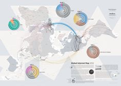 Wit and Wisdom of an Engineer: Global Internet Geography. Global Internet Map good information design. Internet Map, Internet Usage, Information Visualization, Data Visualization, Information Design, Information Graphics, Topography Map, Infographic, Cards