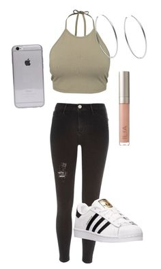 """""""School???"""" by kizzykay ❤ liked on Polyvore featuring NLY Trend, River Island, adidas, Michael Kors and Ilia"""