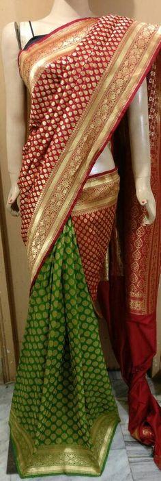 Authentic Banarasi semi pure georgette by silk half and half double design tone to tone cut work Patola saree  For queries ,price : WhatsApp or DM :+919100476654 Visit us at : m.facebook.com/aditieliteboutique  Instagram :- Aditi Elite boutique