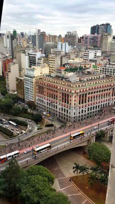 Former Light & Co. headquarters in São Paulo, Edifício Alexandra Mackenzie has been converted into the Shopping Light mall, seen above Viaduto do Chá bridge in downtown São Paulo, Brazil.