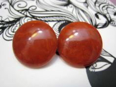 Paprika Vintage Dark Orange Bakelite Earrings 1940s by Glamaroni, $28.00