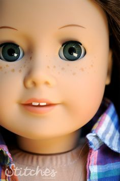 Custom, hand-painted freckles on an American Girl Doll  -18 Stitches