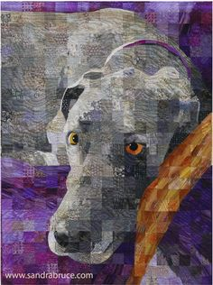 """My quilt """"Winston"""", by by Sandra Bruce This is amazing! Someday I hope to quilt on this level! Dog Quilts, Animal Quilts, Quilting Projects, Quilting Designs, Landscape Art Quilts, Quilt Modernen, Tree Quilt, Quilt Art, Fabric Art"""