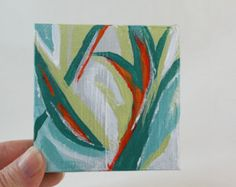 Original Miniature Acrylic Painting, Abstract, Green and orange  OOAK canvas with easel