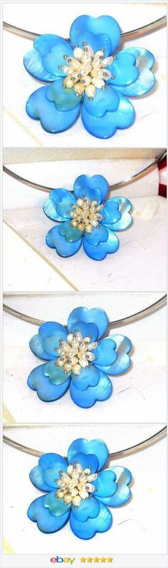 50% OFF #EBAY http://stores.ebay.com/JEWELRY-AND-GIFTS-BY-ALICE-AND-ANN  Shell and Freshwater Pearl Blue flower Necklace