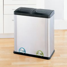 Trash Can Recycle Bin Combo With Lid Stainless Steel 16 Gallon Kitchen Recycling First Apartment Essentials, Recycling Information, Trash And Recycling Bin, Can Lids, Kitchen Trash Cans, Garbage Can, Eco Friendly House, Fashion Room, Kitchen Storage