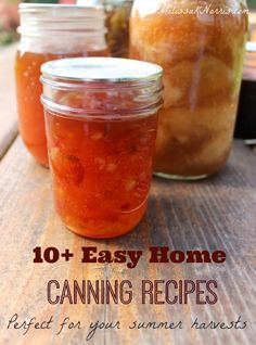 10+ easy home canning recipes. Perfect to take advantage of coming summer harvests to stock y our pantry and build your home food storage. Which is your favorite?