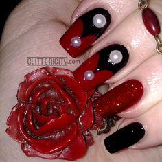 Amanda at Glittericity Nail Blog recreated my Vintage Vampire Halloween nails! http://www.glittericity.com/2014/10/31dc2014-day-30-tutorial.html