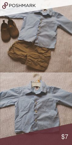 18 Month Boy Button Down Perfect condition, never worn, but tags are off. Perfect for family occasions or church! Nice blue color. Shirts & Tops Button Down Shirts