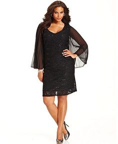 Onyx Plus Size Dress, Long-Sleeve Sequined Lace - Plus Size Dresses - Plus Sizes - Macys
