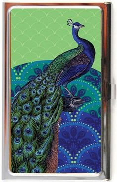 Make a statement when you pull out your business card.. Lucy Lu Peacock Business Card Case