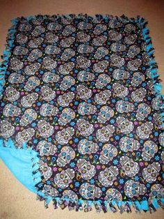 Sugar Skull Black w/ Dresden Blue back Fleece Tie Blanket
