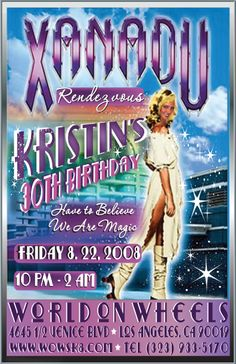 "Are you planning an old school Xanadu-style skate party and would like some totally custom and unique invitations? Well, we've got a classic retro Xanadu inspired design ripe for the taking! Send us your photo and we can crop your face into ""Kiera's"" lovely white, flowing nymph fairy figure www.delightinvite.com"