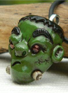 Frightening Little Frankenstein Polymer Clay Pendant.halloween pendants  #pendant #halloween www.loveitsomuch.com