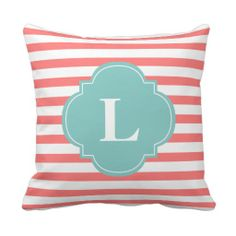 Coral and Mint Stripes Monogram Pillow