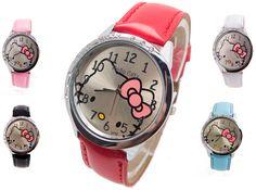2017 Wholesale New leather wrist watch kids women children girl cartoon fashion hello kitty quartz watch clock Relojes //Price: $4.77 & FREE Shipping //     #hashtag1