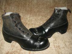 ANTIQUE VICTORIAN~ EDWARDIAN MENS BUTTON UP BOOTS~SHOES~ | eBay