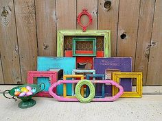 Upcycled - FESTIVAL of COLOR - Vintage Picture Frame - Mirror Collection - Boho CHIC - Bonus Urn - Compote  Etsy.com