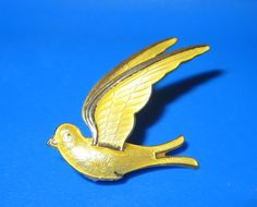 Norway Sterling Bird Brooch Yellow Enamel Vintage by baublology