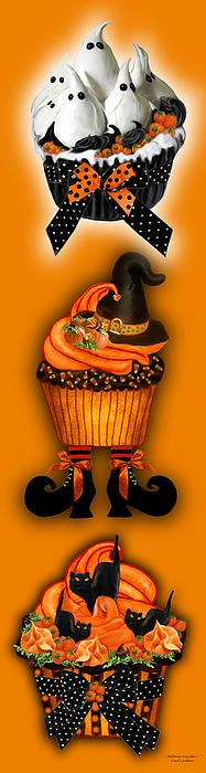 A tasty treat for Halloween, this artwork of three cupcakes, one a cupcake filled with ghosts made of white icy, with chocolate swirls and a polka dot bow, the next a witch cupcake with a chocolate icing hat, and another a black hat cupcake, all on an orange background. Also available on a green background. Makes a festive and fun poster or print for Halloween.