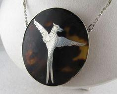Unique Antique Victorian Silver Pique 'Phoenix' Large Pendant Necklace