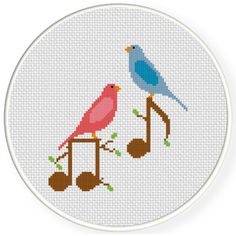 Charts Club Members Only: Birds And Notes Cross Stitch Pattern