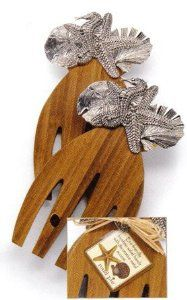 Tropical Sea Life Seahorse Wooden Salad Hands Tongs by Mud Pie. $27.94. with metal sealife icons - starfish, sand dollar. ,seahorse, and seashell. Each Measures approx 8 inches x 4 inches. Pair of bamboo wood salad hands. Tropical Sea Life Seahorse Wooden Salad Hands Tongs