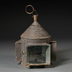American, Early century, Pierced Tin and Glass Candle Lantern - Skinner Auctions (sold)