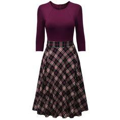 Round Neck  Plaid Midi Skater Dress (€27) ❤ liked on Polyvore featuring dresses, three quarter sleeve dress, calf length dresses, mid calf dresses, skater dresses and purple skater dress