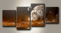 MF_36640112_N / Cuadro Paisaje Marte, luna y Tierra Naranja