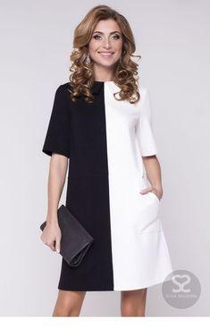 Simple Dresses, Casual Dresses, Short Dresses, Dresses For Work, Office Dresses, Dress Outfits, Fashion Dresses, Sixties Fashion, Colorblock Dress