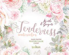 Flores acuarela guirnalda y Ramos de flores, rosas, hortensias, Boho bohemio Floral. Clipart de boda pintado a mano. Png de digital, tarjeta de felicitación